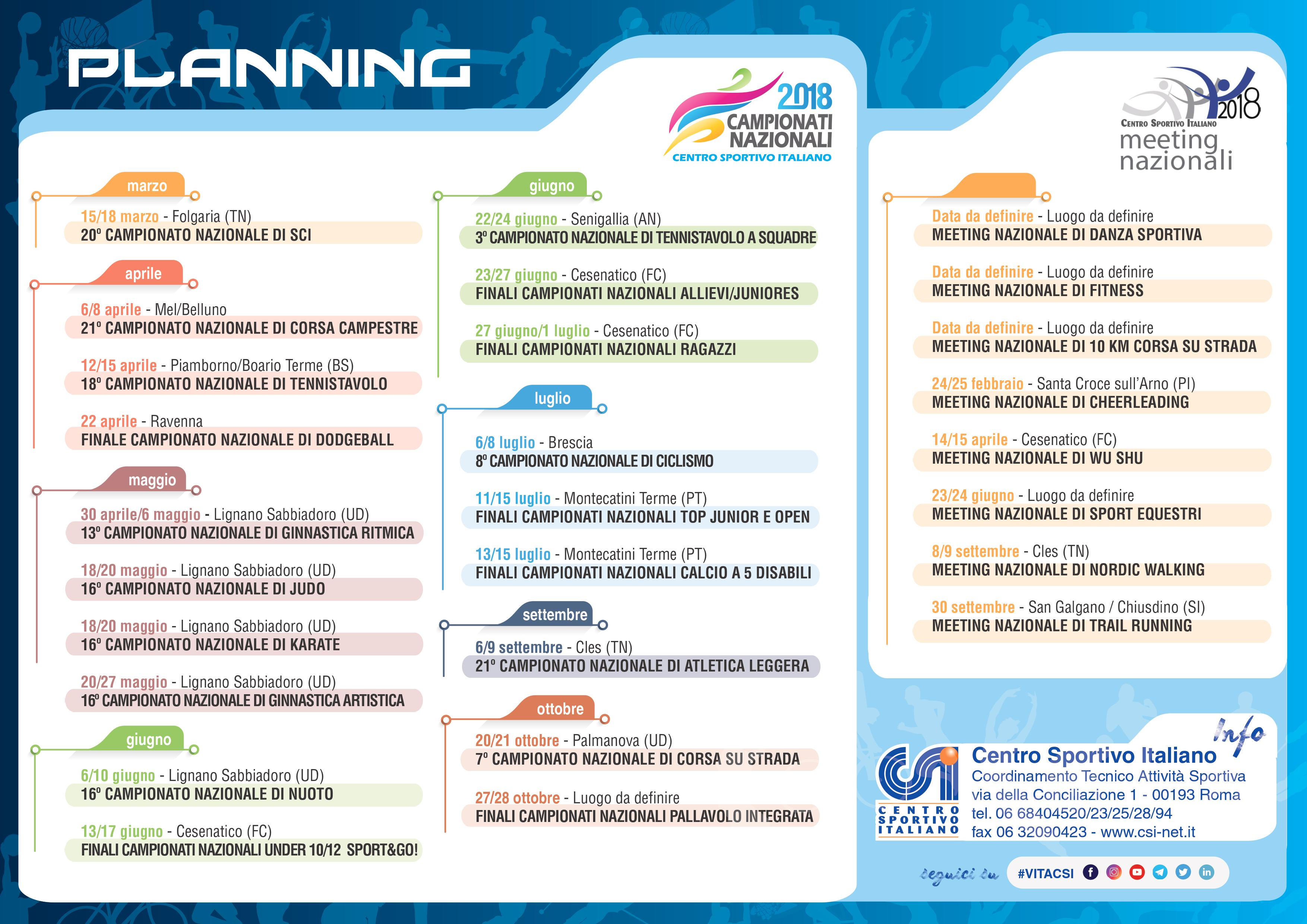 Calendario Nazionali.I Loghi Dei Campionati Nazionali E Il Calendario Csi