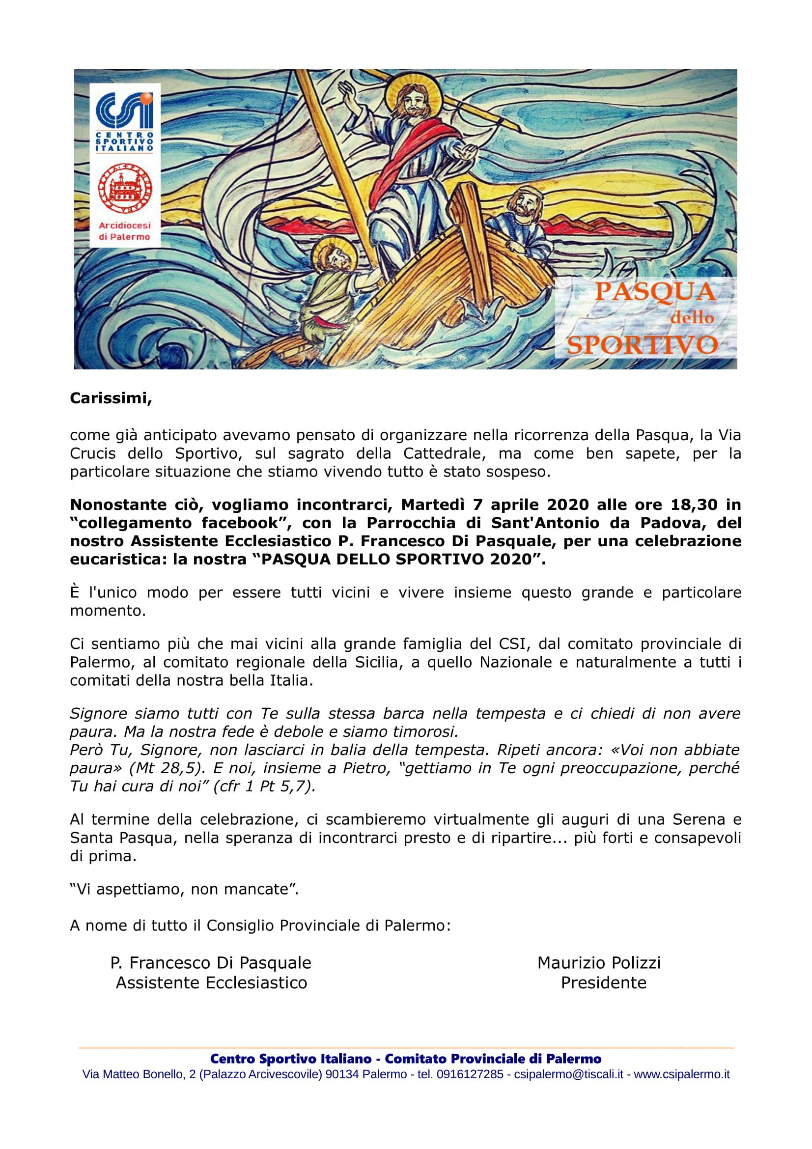 Pasqua dello Sportivo 7 Aprile 2020 ore 18,30